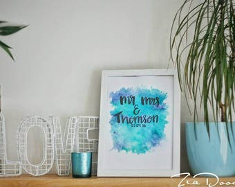 Personalised Mr & Mrs OR Engagment Calligraphy Art Print
