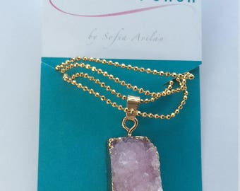Pink Druzy pendant necklace