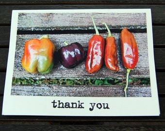 Harvest Thanks thank you cards, set of 8 handmade thank you cards with envelopes