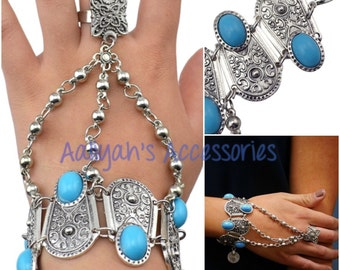 Turquoise & Beautifully Detailed Silver Hand Jewelry/Bracelet