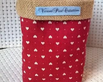 Empty basket mother's Pocket pouch veronpiotcreation in Burlap and cotton red white storage heart wedding decoration natural