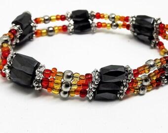 Haematite wrap bracelet, magnetic haematite, healing bracelet, adjustable necklace, ankle bracelet, new age jewellery, arthritis jewellery.