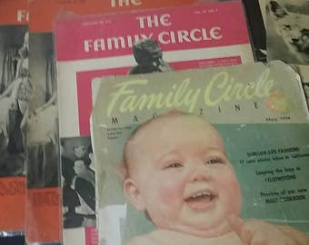 Lot of 10 Vintage The Family Circle Magazine 1939, 1941, 1954, one duplicate issue