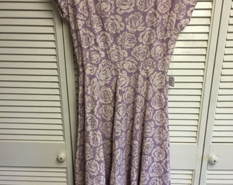 50's Purple and white flowered dress