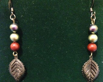 A Leaf and a Pearl Dangle Earrings