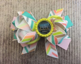 4 1/2 in. Recess Is My Favorite Subject Embellished Layered Boutique Hair Bow on a 1 3/4 in. Single Prong Clip