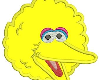 Sesame Street Big Bird Applique Design 3 sizes instant download