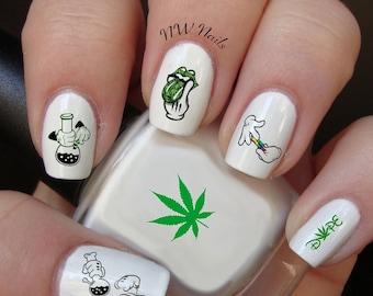 Stoner Hands Day Nail Decals  Marijuana/Pot leaf/ Weed/420/Dope/Bong/Blunt