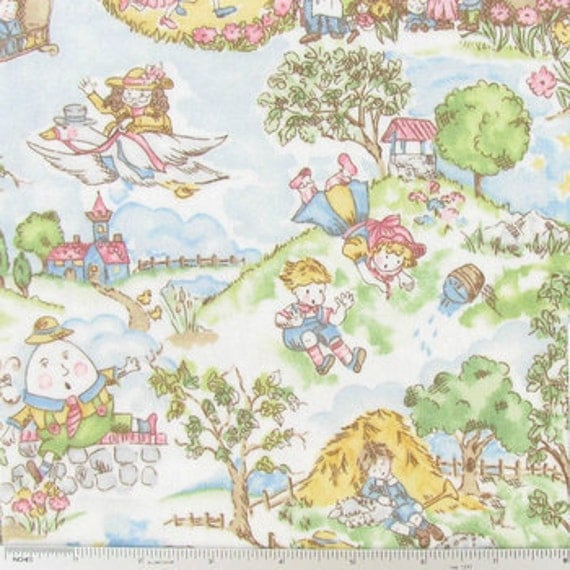 Nursery rhyme toile flannel fabric for nursery baby for Curtain fabric for baby nursery