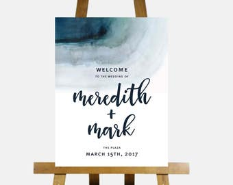 Printable Wedding Welcome Sign,Customized Wedding Signage,DIY digital Reception Sign,ombre Wedding Decoration,welcome to our wedding
