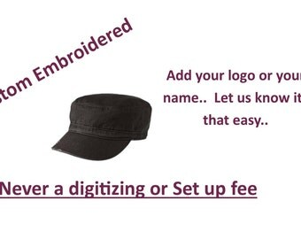 District- Distressed Military Hat with Custom Embroidery