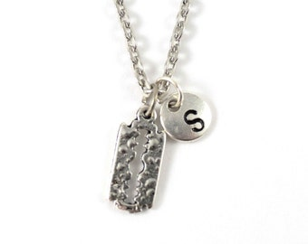 RAZOR BLADE charm necklace, razor jewelry, personalized charm necklace, initial necklace, personalized jewel, charm neckalce, initial jewel