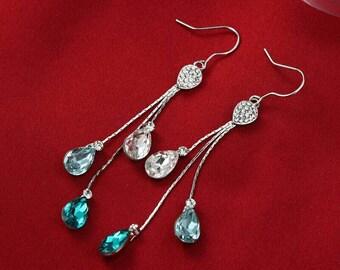 Blue Austrian crystal rhinestone long dangle earrings