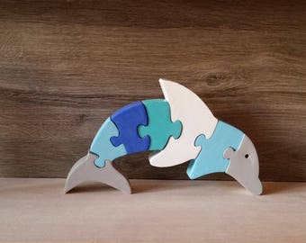 wooden puzzle dolphin