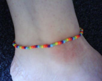 LoliRosa Rainbow Bright Glass Seed Bead Stretch Anklet Ibiza Summer Festivals