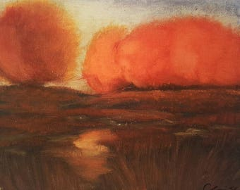 """Fall Oil Painting Landscape. 8""""x10"""" Print-Autum Glow *frame not included*"""