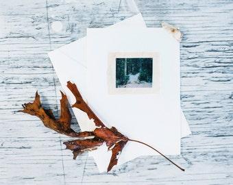 Snowy Path Fabric Greeting Card