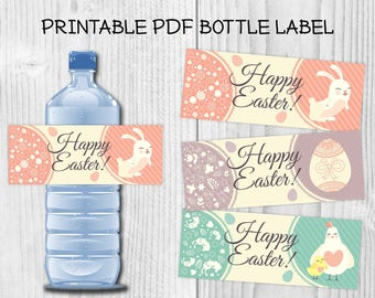 3 Designs Happy Easter Printable Water Bottle Labels DIY Easter's Party Water Bottle Labels Ready to print PDF Easter Bunny Easter eggs