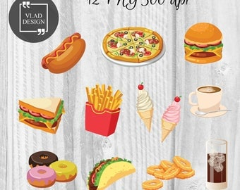 Fast food Clipart Hamburger Clipart Digital food elements Cute burger graphics Pizza clipart Coffee Clipart Food art Drinks clipart