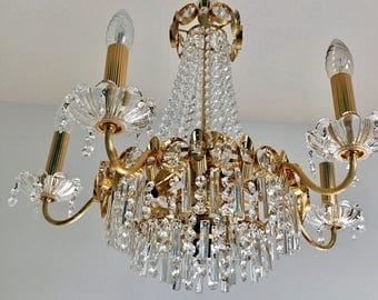 Empire chandelier Crystal gold plated mid century modern Lobmeyr era