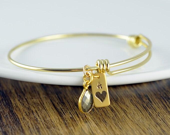 Gold Heart Bracelet - Heart Charm Bracelet - Heart Bracelet - Gemstone Bracelet - Hand Stamped Bracelet - Gift for Her - Gift for Wife