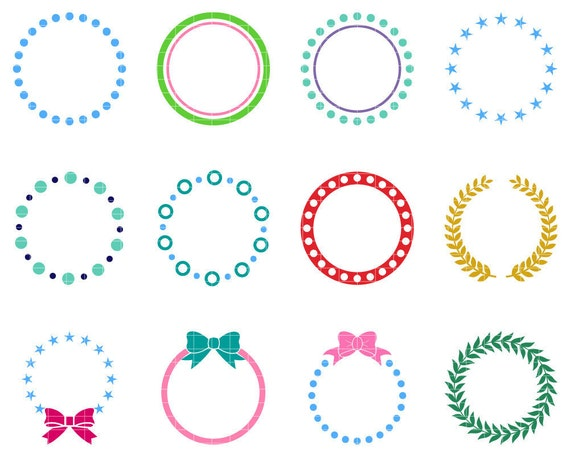 Monogram Frame Svg Cut File Circle Monogram Frames Dfx