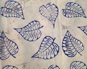 Indigo Blue Leaf Pattern Hand Block Printed on Natural 100% Cotton FABRIC