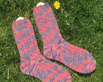 Girls hand knitted long socks made to order