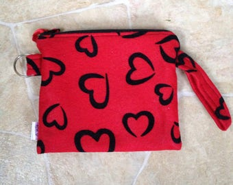 Notions pouch red with black hearts