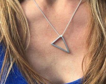 Geometric Triangle Necklace/ Sterling Silver