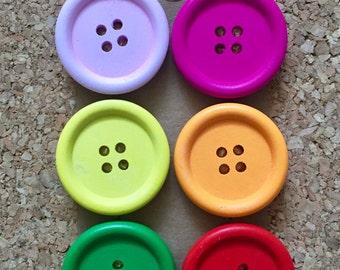 Jumbo Colorful Wooden Thumb Tacks/Push Pins/Magnets - FREE SHIPPING!