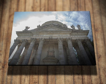 Old Temple, Church, Blue Sky, Bottom View, Huge Columns, Sculpture, Front View, Photo On Canvas, Canvas Photography, Good Memories Boutique