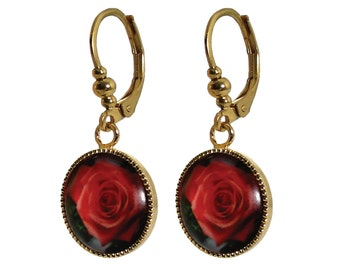 Surgical steel gold red floral 12 mm dangle earrings for sensitive skin