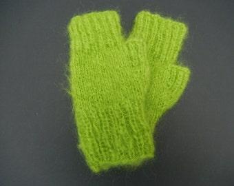 Green Mohair Fingerless Gloves