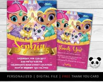 Shimmer and Shine Invitation, Shimmer and Shine Birthday, Shimmer and Shine Party Invitation, Shimmer and Shine Genie Invitation