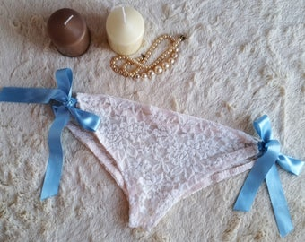 Ivory Bridal Panties From Elastic Floral Lace With Blue Bows, Honemoon Wedding knickers, Custom Size Made To Order Lingerie, Lace Knickers