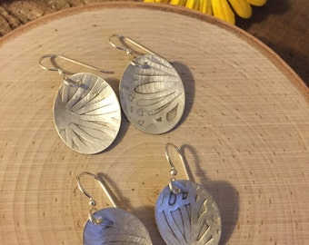 Sterling silver ovals with pedal pattern