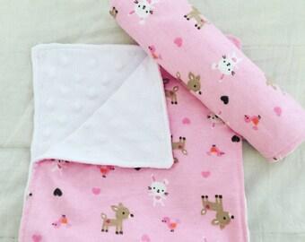 Burp Cloth Set, Baby Girl, Kawaii Print - Set of Two (2)