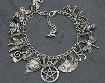Pagan/Wiccan Fully Loaded Charm Bracelet - Element - Air with Rainbow Fluorite & Quartz. Wicca, Witch, Nature