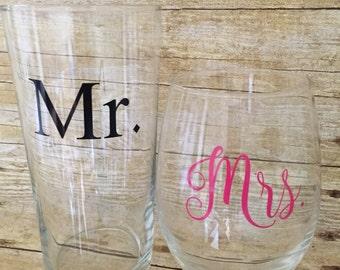 Mr. beer pilsner & Mrs. stemless wine glass