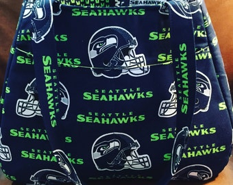Ethel Tote Bag made with Seattle Seahawks fabric, Purse,  Swoon Ethel Tote, Gifts for Seahawks Fan, Gifts for her.