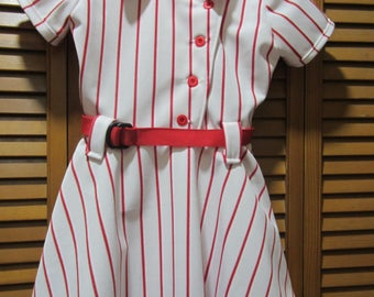 Child's White with red Pinstripe Baseball Dress, Child's Size 8