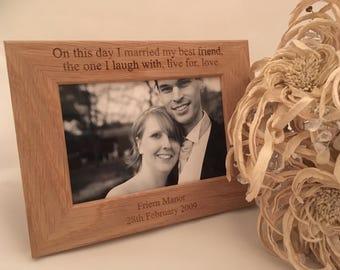 Personalised Wedding photo frame, Personalised photo frame, personalised wedding gift, 5th anniversary gift, personalised frame,