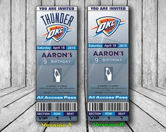 OKC Thunder Invitation, OKC Thunder Birthday Invitation, Basketball Invitation, Oklahoma City Thunder Team Invites