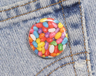 Rainbow Jellybeans 1.25 Inch Pin Back Button Badge