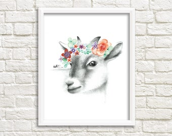 Drawing goat poster / Illustration watercolor 8 x 10 / animal drawing flowers wreath / wall decor / Katrinn Illustration