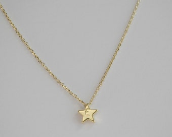 Initial  gold star necklace, star charm  necklace,  bridesmaid gift, gift necklace, gold star necklace