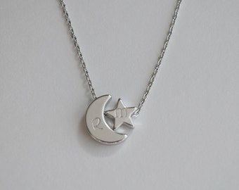 Initial silver Moon and star necklace, Moon and star charm  necklace,  bridesmaid gift, gift necklace,dainty initial necklace