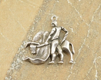Antique Style Matador And Bull Bullfighter Charm / Pendant Sterling Silver 6.9g