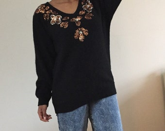 vintage 90s black soft sweater embellished w/ copper silver sequins batwing sleeve - 1990s V-neck long metallic bronze dolman tunic L XL